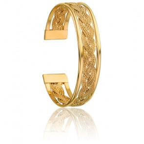 Bracelet Manchette Tresse Plaquée Or Jaune