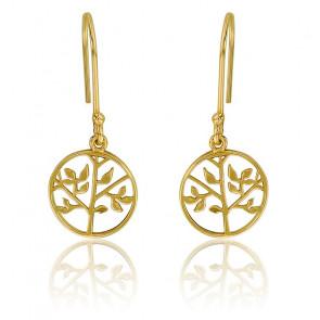 Boucles d'oreilles fantaisie arbre de vie en plaqué or jaune