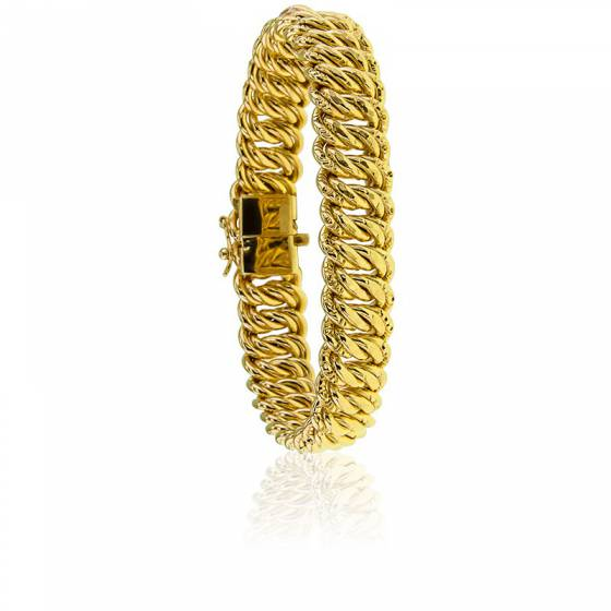 Bracelet maille Américaine, 19,50 cm, Plaqué Or, 13 mm