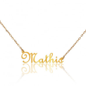 Collier Prénom Mathis Or Jaune 9K