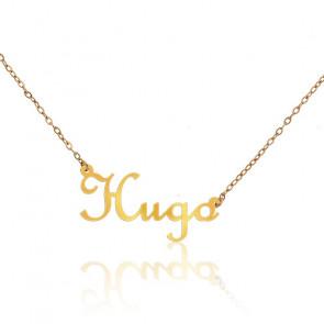 Collier Prénom Hugo Or Jaune 9K