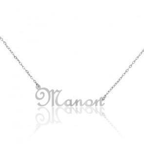 Collier Prénom Manon Or Blanc 18K
