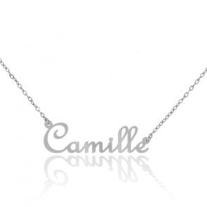 Collier Prénom Camille Or Blanc 18K
