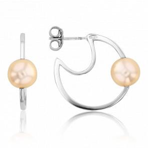 Créoles Nude perle de culture & or blanc 18K