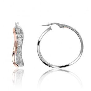 Boucles d'oreilles créoles or rose et blanc 9K, effet diamanté