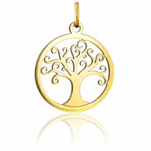 Médaille Arbre de Vie Arabesques Ajourée Or Jaune 18K