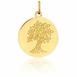Médaille Arbre de Vie Fleurs Or Jaune 18K