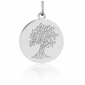 Médaille Arbre de Vie Or Blanc 18K