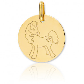 Médaille Cheval Or Jaune 18K