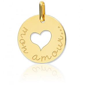 Médaille Coeur Mon Amour Or Jaune 18K