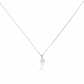Collier Shine 3 griffes Or Blanc 18K & Diamant 0,43 ct