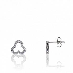 Boucles d'oreilles diamants, trèfle ajouré en or blanc 18 carats
