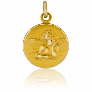 Médaille Ange Raphaël à Bord Guilloché Or Jaune 18K