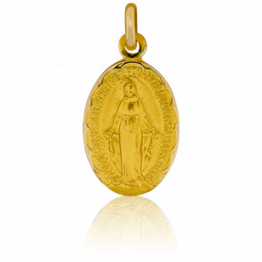 Médaille Vierge Miraculeuse Bord Fleuri, Or Jaune 18K