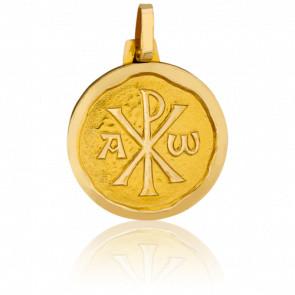 Médaille Chrisme Bord Cachet Or Jaune 18K