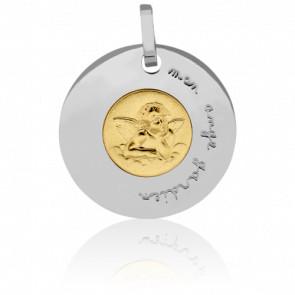 Médaille Mon Ange Gardien - Pichard-Balme - Médaille ronde en or jaune et or blanc de 18 mm.