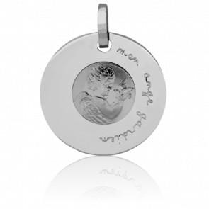 Médaille Ange Gardien à la Colombe Or Blanc 18K