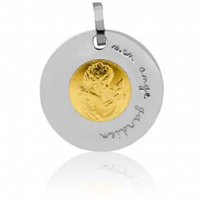 Médaille Ange Gardien à la Colombe Or Jaune & Or Blanc 18K