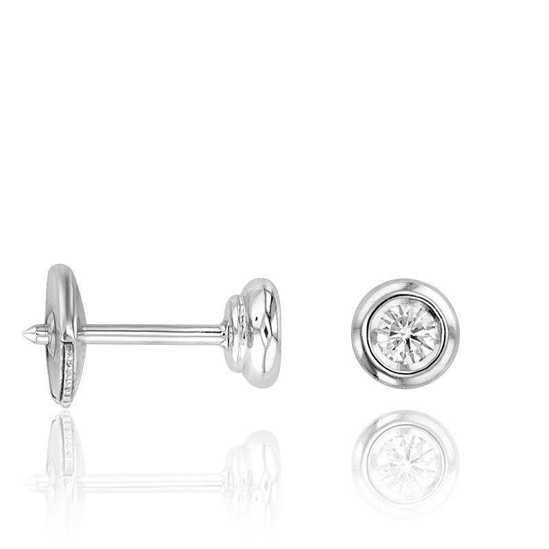 boucles d 39 oreilles solitaire 0 20 carat serti clos or. Black Bedroom Furniture Sets. Home Design Ideas