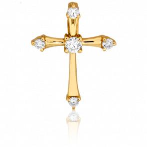 Croix en Or Jaune 18K  et Diamants