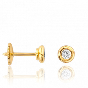 Boucles d'Oreilles Solitaire 0,20 carat HSI Serti Clos Or Jaune - Collection by Ocarat Paris