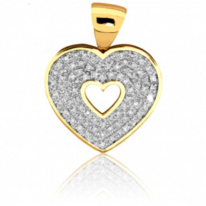 Pendentif Coeur Ajouré et Diamants
