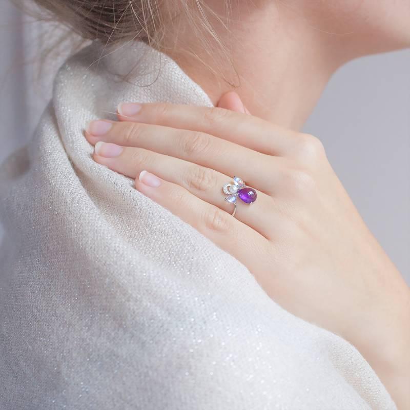 Célèbre Bague Mon Ange Or Blanc, Améthyste, Diamants - Ocarat RW51
