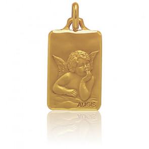 Médaille Rectangulaire Ange Raphaël Rêveur Or Jaune 18K