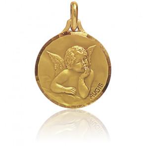 Médaille Ronde Facettée Ange Raphaël Pensif Or Jaune 18K
