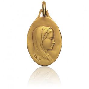 Médaille Ovale Vierge Voilée Or Jaune 18K