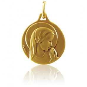 Médaille Ronde Vierge en Prière Or Jaune 18K