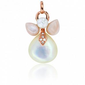 Pendentif Mon Ange Or Rose, Nacre Blanche, Diamants et Perle