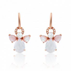 Boucles d'Oreilles Mon Ange Or Rose, Quartz Rose, Diamants et Perle