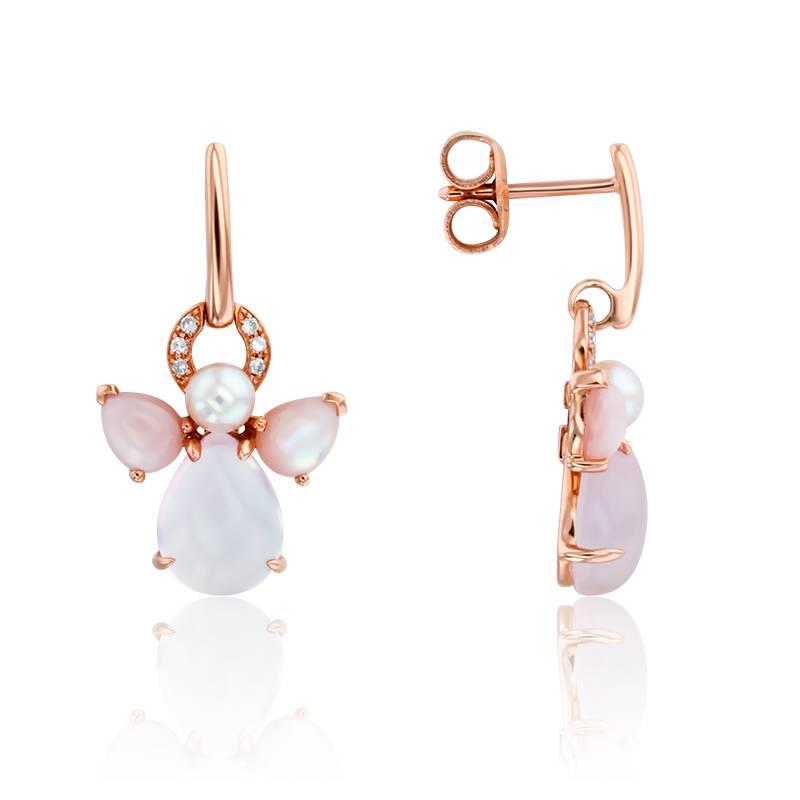 boucles d 39 oreilles mon ange or rose quartz rose diamants et perle isabelle langlois ocarat. Black Bedroom Furniture Sets. Home Design Ideas