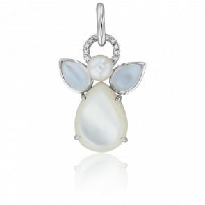 Pendentif Mon Ange Or Blanc, Pierres de Lune, Nacre, Diamants et Perle