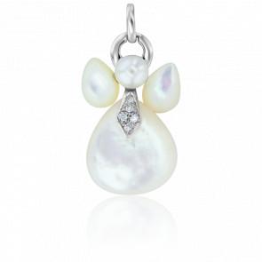 Pendentif Mon Ange Or Blanc, Nacres, Diamants et Perle