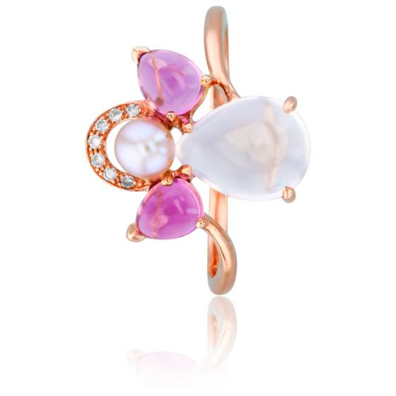 Bague Mon Ange Or Rose, Tourmaline, Quartz Rose, Diamants et Perle