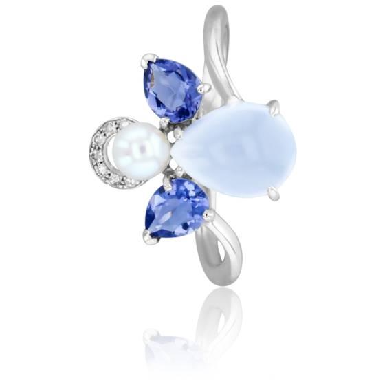 Bague Mon Ange Or Blanc, Calcédoine, Iolite, Diamants et Perle