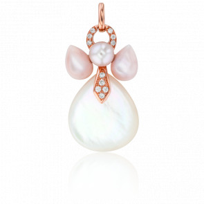 Pendentif Mon Ange Or Rose, Nacres, Diamants et Perle