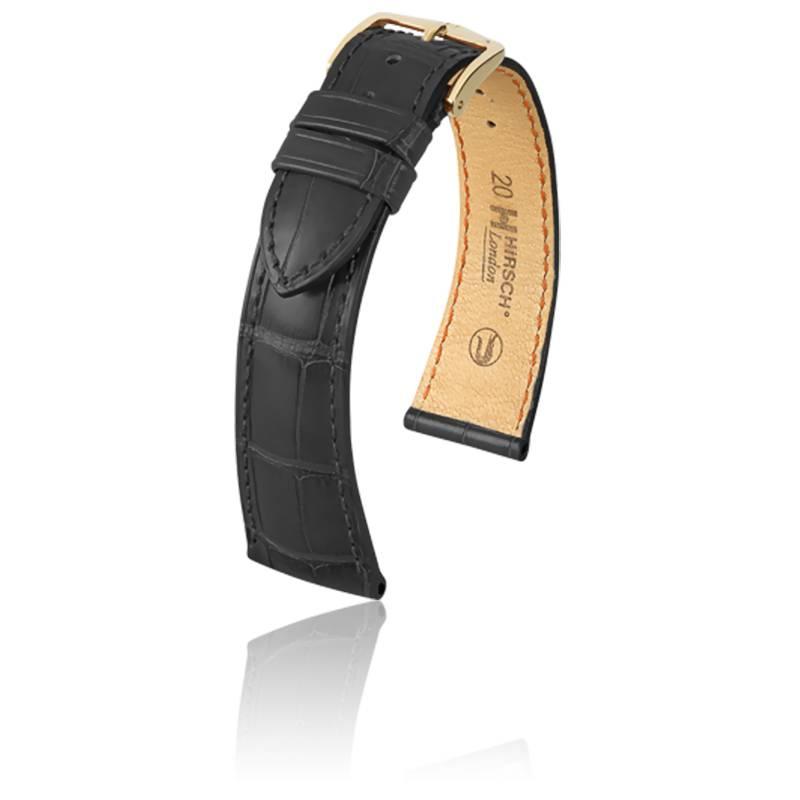 Bracelet London Noir Mat Entrecorne 16 Mm Hirsch Ocarat