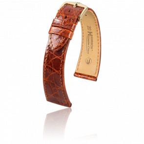 Bracelet Genuine Croco Marron Doré - Entrecorne 19 mm