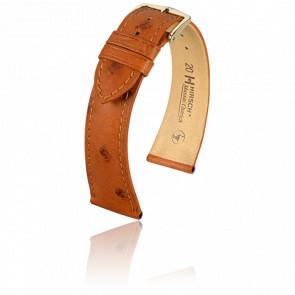 Bracelet Massai Ostrich Marron Doré - Entrecorne 18 mm