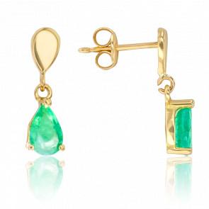 Boucles d'oreilles pendantes, émeraude suspendue & or jaune 18K