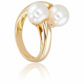 Bague Cap Coral, Perles et Or Jaune