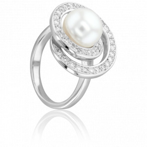 Bague Cap Spear Perle Blanche, Or Blanc et Diamants