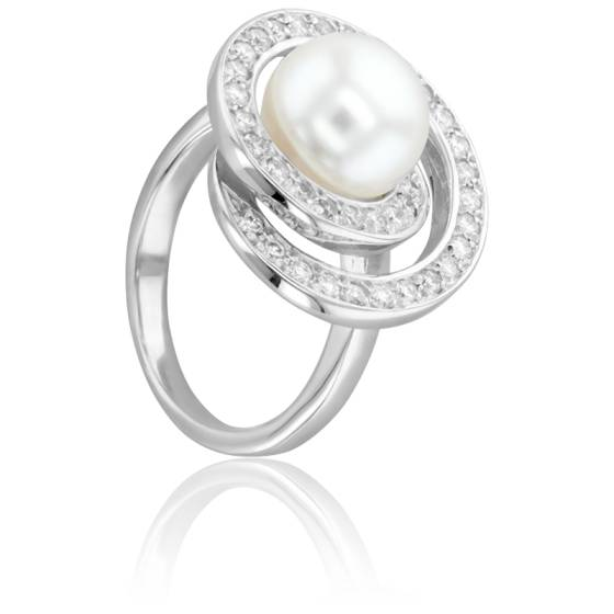 Bague Cap Spear Perle Blanche, Or Blanc et Diamants