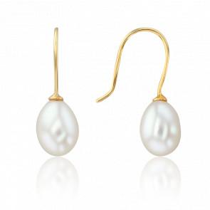 Boucles d'oreilles pendantes, perles blanches et or jaune 18 carats