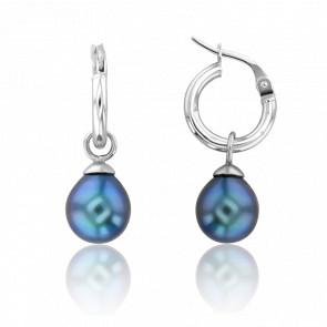 Créoles perles de Tahiti et or blanc 18 carats