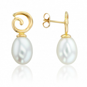 Boucles d'oreilles pendantes perles de culture & or jaune 18 carats