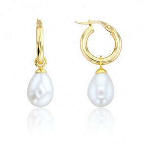 Boucles d'oreilles créoles, perles et or jaune 18 carats